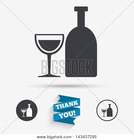 Alcohol sign icon. Drink symbol. Bottle with glass. Flat icons. Buttons with icons. Thank you ribbon. Vector