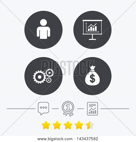 Business icons. Human silhouette and presentation board with charts signs. Dollar money bag and gear symbols. Chat, award medal and report linear icons. Star vote ranking. Vector