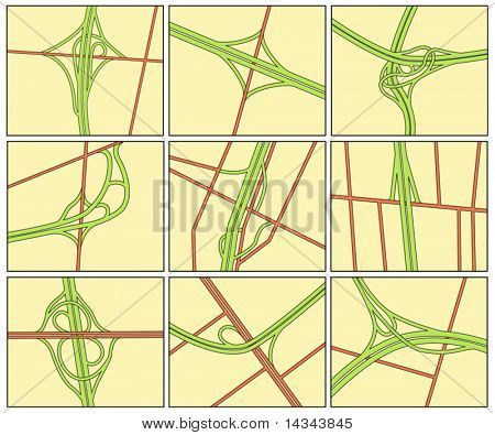 Set of editable vector road intersection illustrations