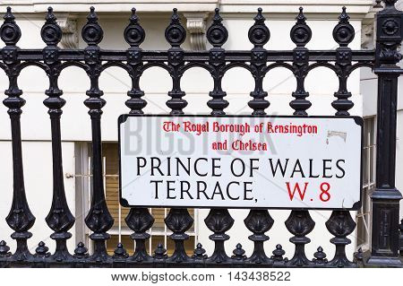 street name sign of the Prince of Wales Terrace in London UK