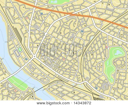 Editable vector map of a generic city with no names