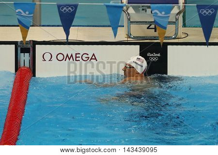 RIO DE JANEIRO, BRAZIL - AUGUST 10, 2016: Olympic champion Ryan Lochte of United States after the Men's 200m individual medley relay of the Rio 2016 Olympic Games at the Olympic Aquatics Stadium