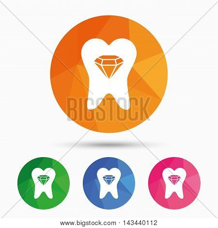 Tooth crystal icon. Tooth jewellery sign. Dental prestige symbol. Triangular low poly button with flat icon. Vector