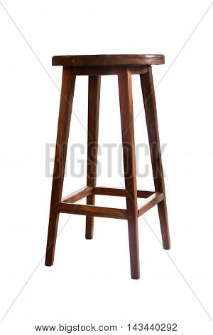 Wooden stool isolated on white background, stock photo