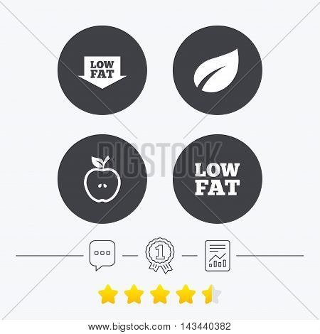 Low fat arrow icons. Diets and vegetarian food signs. Apple with leaf symbol. Chat, award medal and report linear icons. Star vote ranking. Vector