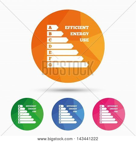 Energy efficiency sign icon. Electricity consumption symbol. Triangular low poly button with flat icon. Vector