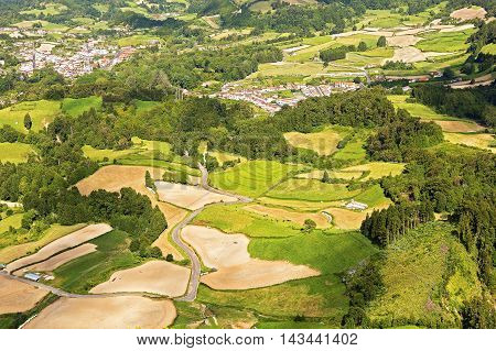 Aerial view on Furnas and surroundings in Azores Portugal. Picturesque landscape of Sao Miguel Island in Azores Portugal.