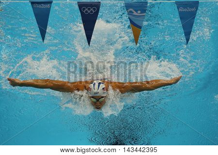 RIO DE JANEIRO, BRAZIL - AUGUST 10, 2016:Olympic champion Michael Phelps of United States competes at the Men's 200m individual medley of the Rio 2016 Olympic Games at the Olympic Aquatics Stadium
