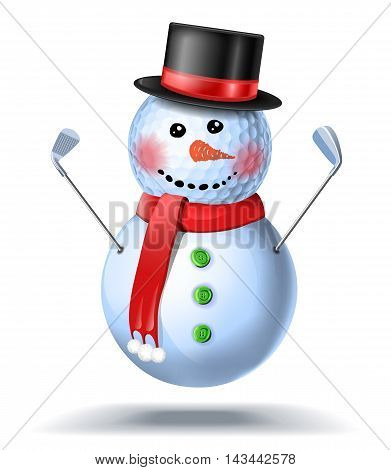 Snowman Golfer With Irons