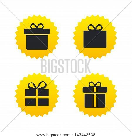 Gift box sign icons. Present with bow and ribbons sign symbols. Yellow stars labels with flat icons. Vector