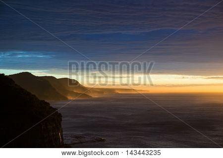 Australian rugged coastline shore on sunrise. Extreme terrain seashore landscape