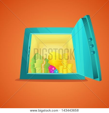 Cartoon safe front view. Opened metallic cartoon safe with money inside, gold bar, coins, stacks of dollar cash. Vector illustration safe full of riches.