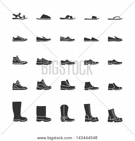 Icons of men's shoes. Vector black icons