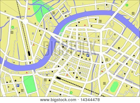 Illustrated street-map of a generic city with no names