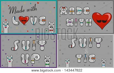 Cards with inscriptions. Made with love. Suit and tie. Suit up. Vintage font. Sale. Gray retro letters with colorful ties. Pink numerals. Cartoon hipster hands. Vector illustration
