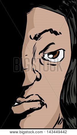 Sneering Hispanic Woman Illustration