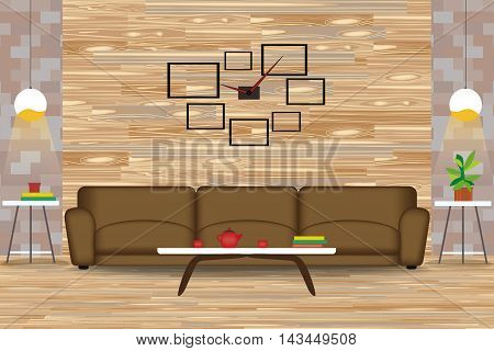 Modern Style Interior Design Vector Illustration.Sofa in Front of Wood Wall. Side Tables, Chandeliers, Clock. Cartoon Living Room with Parquet Floor.Front Elevation.Rest room Furniture.