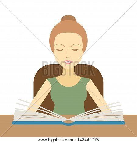 Woman reading a book at the table. Vector illustration