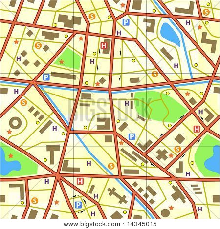 Seamless tile of a generic city without names
