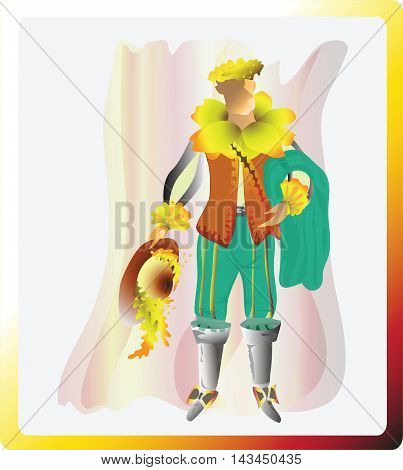 The Sunny daffodil. Narcissistic musketeer. Fairy tale character can be used in games, cartoons, design,  fabrics, furniture, tableware. Illustration