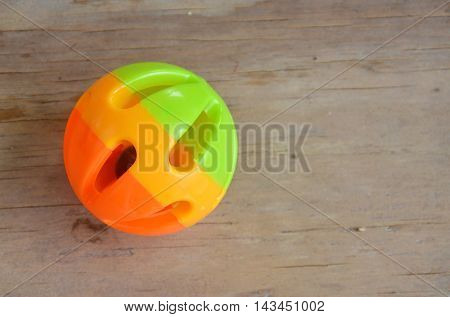 plastic pet toy ball on wooden board