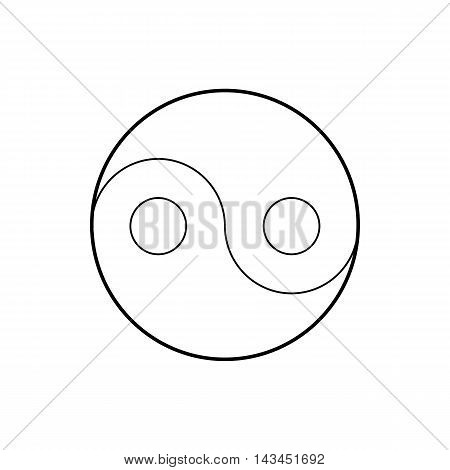 Yin Yang symbol icon in outline style isolated on white background