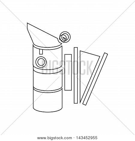 Bee hive smoker icon in outline style isolated on white background