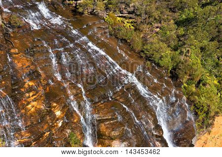 Wentworth Falls Waterfall Close Up View From Above