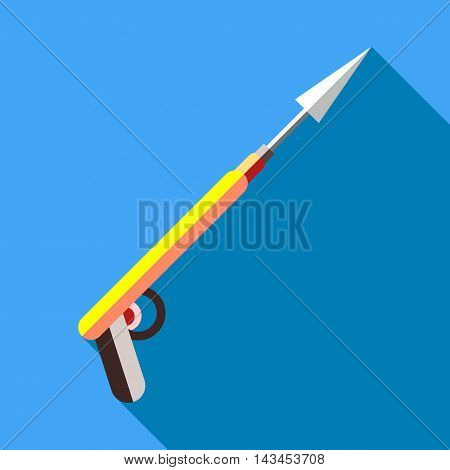 Harpoon for fishing icon in flat style with long shadow. Fishing symbol