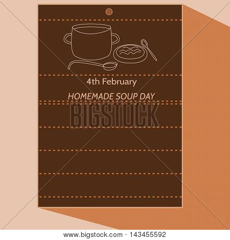 4th February - Homemade Soup Day - simple stylized cartoon drawing of calendar letter with pot, ladle, plate, spoon, soup. In dark brown hue.