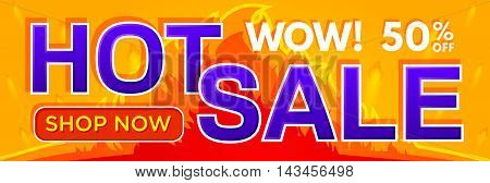 Hot sale banner. Sale and discounts. Vector illustration