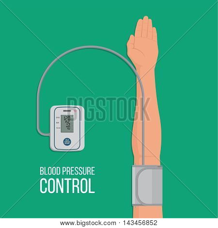 Digital tonometer who is put on an arm. The device measures arterial pressure at the person. Prophylaxis of hypertensive and atonic diseases. Pulse control. A vectorial illustration in flat style.