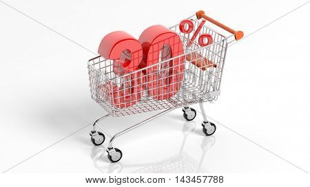 3D rendering of shopping cart trolley with 30 percent sale on white background.Isolate