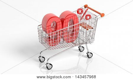 3D rendering of shopping cart trolley with 90 percent sale on white background.Isolate
