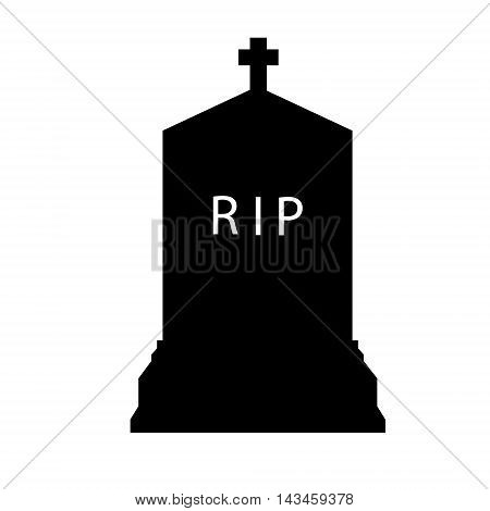 Vector illustration black silhouette gravestone. Tombstone icon.