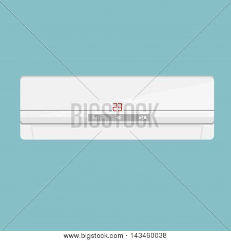 Vector illustration realistic air conditioner isolated on blue background. Air conditioner icon. Air conditioner on the wall