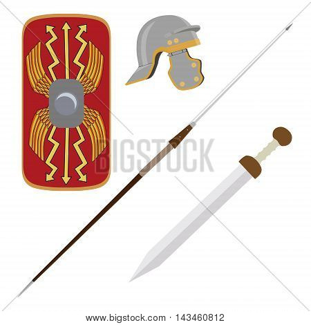 Vector illustration roman empire legionary shield spade helmet and gladius roman ancient weapon