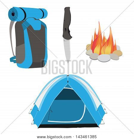 Camping equipment blue camping tent campfire with stones travel backpack and exploration hat knife vector illustration. Camping gear icon set