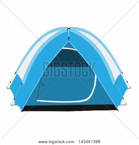 Vector illustration blue camping tent isolated on white background