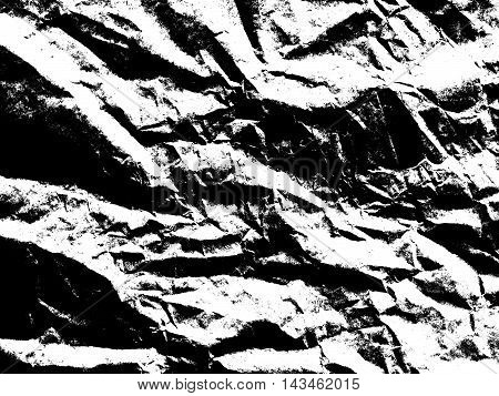 Art paper texture. Unique crumpled black and white filter paper sheet for background.