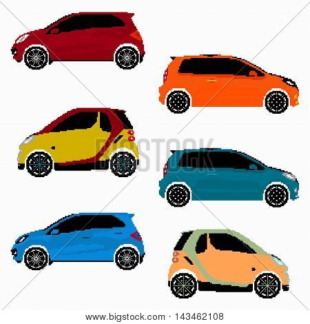 collection of colored cars vector pixel art