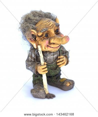 Troll Figurine On White Background