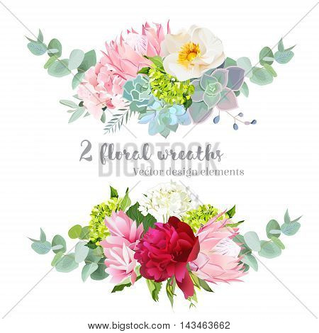 Floral mix wreath vector design set. Green white and pink hydrangea rose protea succulents echeveria peony eucaliptus. Stylish horizontal flower banner. All elements are isolated and editable.