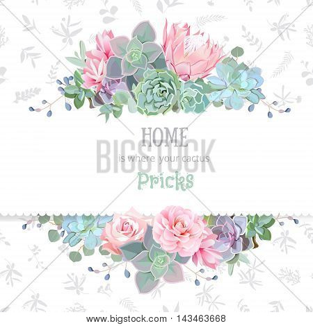Green colorful succulents vector design frame. Echeveria protea eucaliptus. Natural cactus card in modern funky style. Delicate floral texture background. All elements are isolated and editable.