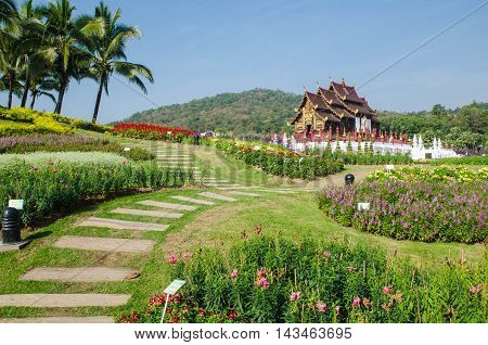 architecture Lanna style in the garden,Thailand .