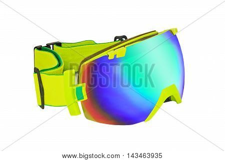 Side view of wide-angle mirror goggle isolated on white background. For skiing and snowboarding
