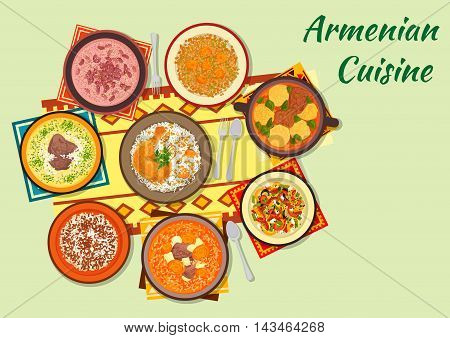Armenian cuisine icon with dumpling soup, baked chicken stuffed with rice and dried fruit, beef soup with dried apricot, vegetable salad, rice with minced beef, bean soup, yoghurt soup, lentil salad