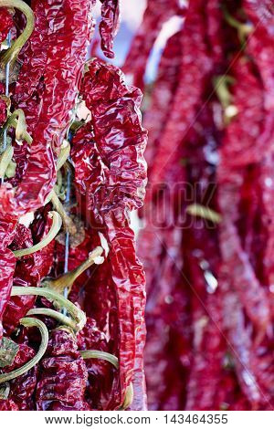 picture of a Hot red chili pepper on market. pile of dried red chili pepper