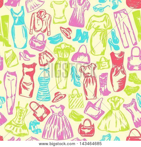 Clothing for women is seamless drawing by hand