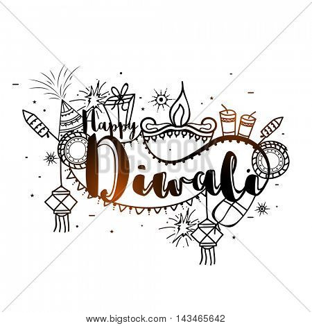 Stylish Text Diwali with creative elements, Vector Typographical Background, Beautiful Greeting Card for Indian Festival of Lights Celebration.
